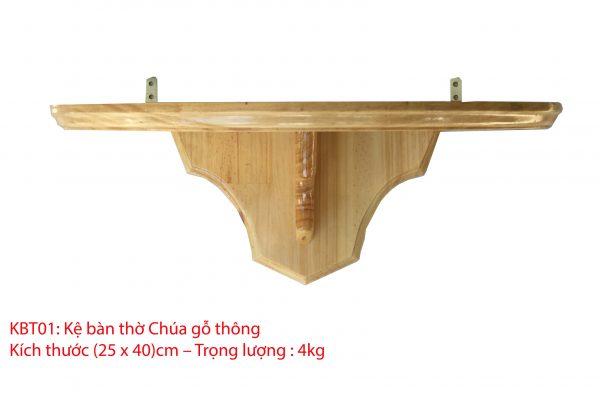 kệ bàn thờ chúa bằng gỗ thông 25x40