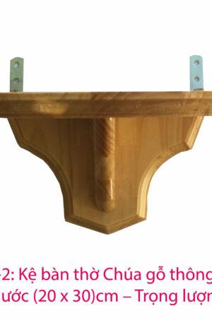 Kệ bàn thờ chúa bằng gỗ thông 25x30 - KBT03